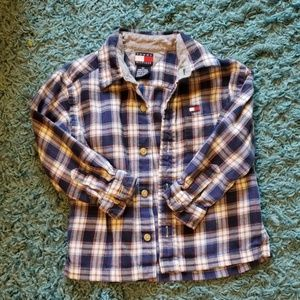 Tommy Hilfiger Blue Plaid Button Down Shirt Sz 3T